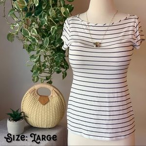 Simple White & Dark Navy Striped Tee